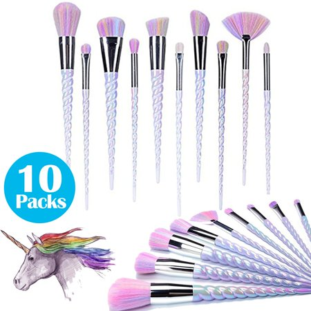 10 Packs Color Unicorn Spiral Makeup Brush Set Fantasy Make-Up Tools Liquid Foundation Eye Shadow With A Cute Rainbow-Colored Handbag - Cute Eye Makeup Ideas Halloween