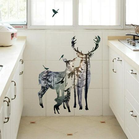 Mosunx Deer Elk Head Wall Sticker Home Decor Removable Living Room DIY