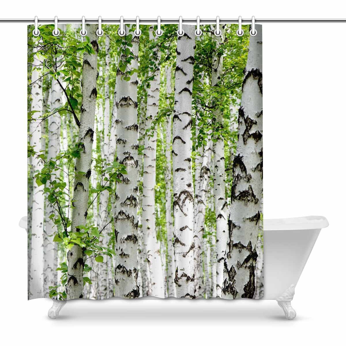 Bathroom Shower Curtain White Forest Tree Pattern Polyester Waterproof Curtain