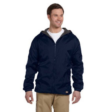 Dickies Mens Fleece Lined Hooded Nylon Jacket   Dark Navy   4Xl 33237