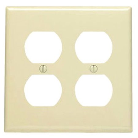 Leviton 80716-GY 2-Gang, 2-Duplex, Receptacle Wallplate, Standard Size, Thermoplastic Nylon, Device Mount,
