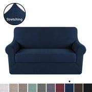 H.VERSAILTEX Jacquard Textured 2-Piece Loveseat Slipcover with Foam Inserts (Loveseat, Navy)