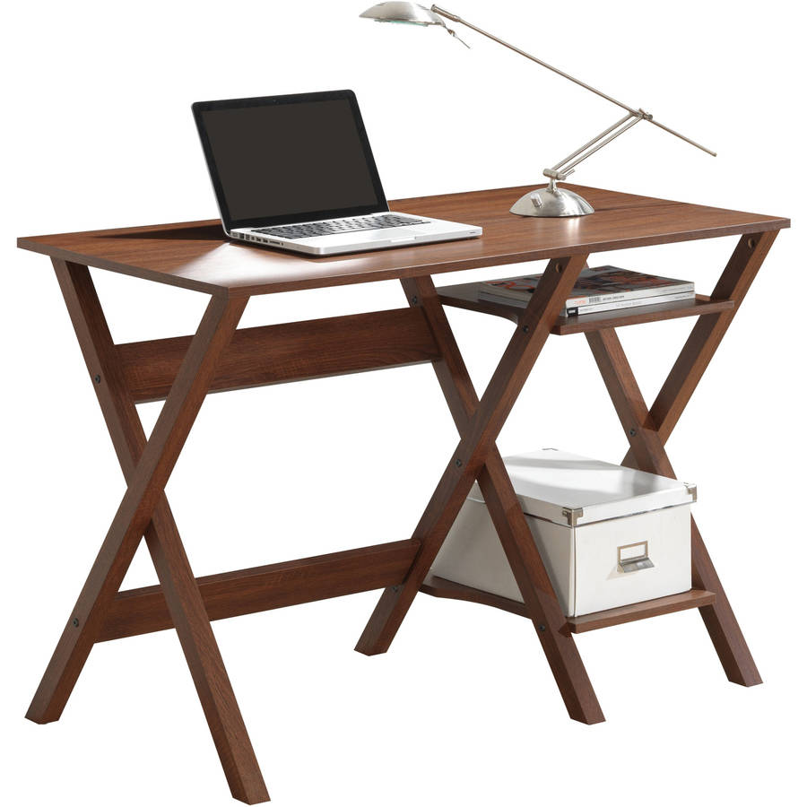 Techni Mobili Writing Desk with Side Shelves, Oak