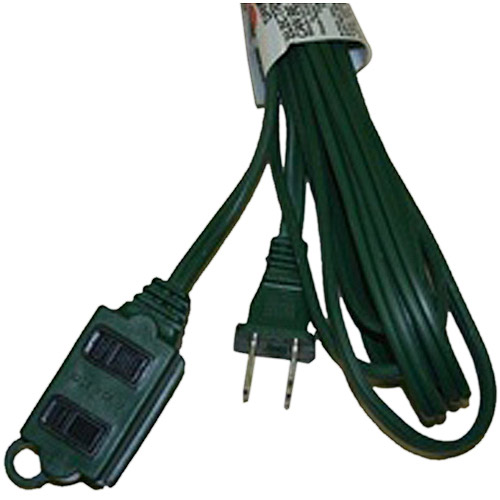 Inland 6' ft Extension Cord - 3 Outlets, Safety Cover, 16 AWG, Black  - 03290