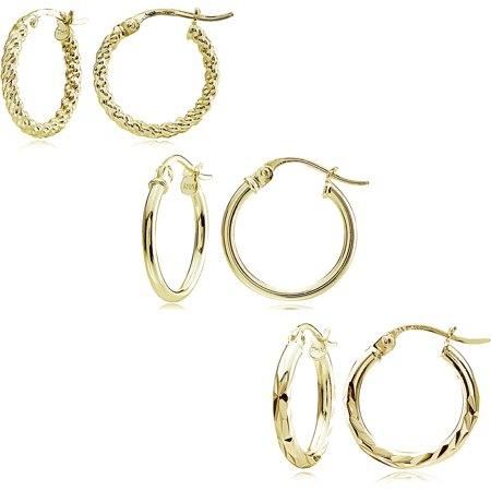 14kt Gold over Sterling Silver 15mm Hoop Earring Set