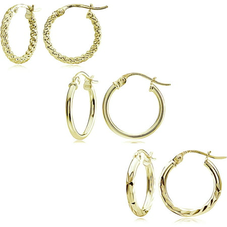 14kt Gold over Sterling Silver 15mm Hoop Earring Set ()