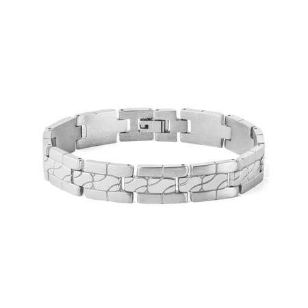Brushed Mens Link Bracelet - Men's Stainless Steel Polished and Brushed Grooved Link Bracelet