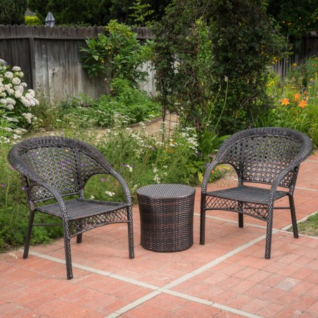 Mystic Outdoor 3 Piece Wicker Stacking Chair Chat Set with Round Drum Table, Multibrown
