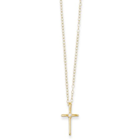 14k Yellow Gold .01ct Diamond Cross Religious Chain Necklace Pendant Charm Latin Crucifix Kid Gifts For Women For Her