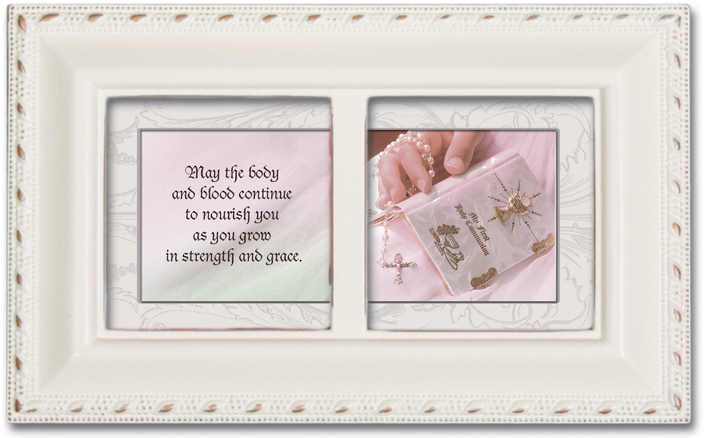 First Holy Communion Ivory Petite Music Box   Jewelry Box Plays Ave Maria by