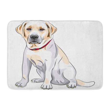 KDAGR Lab Portrait of Serious Yellow Dog Breed Labrador Retriever Sits Sketch Black Doormat Floor Rug Bath Mat 23.6x15.7 inch