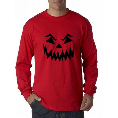 New Way 972 - Unisex Long-Sleeve T-Shirt Scary Halloween Pumpkin Face Jack O Lantern Medium Red - Pumpkin Halloween Faces Scary