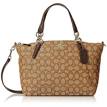 Coach Signature Small Kelsey Satchel Shoulder Bag Handbag Khaki Brown