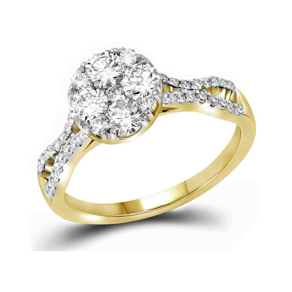 10kt Yellow Gold Womens Round Diamond Cluster Bridal Wedding Engagement Ring 1.00 Cttw by GND