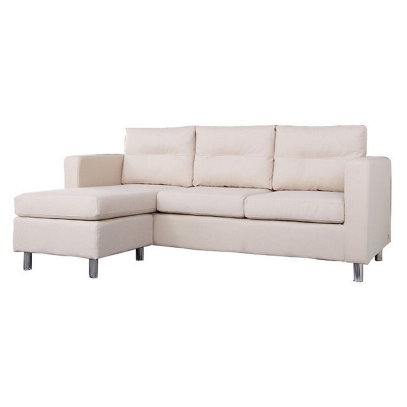 Gold Sparrow Detroit Fabric Convertible Sofa with Ottoman in Beige Walmart