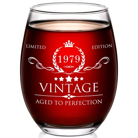 1979 40th Birthday Gifts for Women and Men Wine Glass - 40 Year Old Birthday Gifts, Party Favors, Decorations for Him or Her - Vintage Funny Anniversary Gift Ideas for Mom, Dad, Husband, Wife -