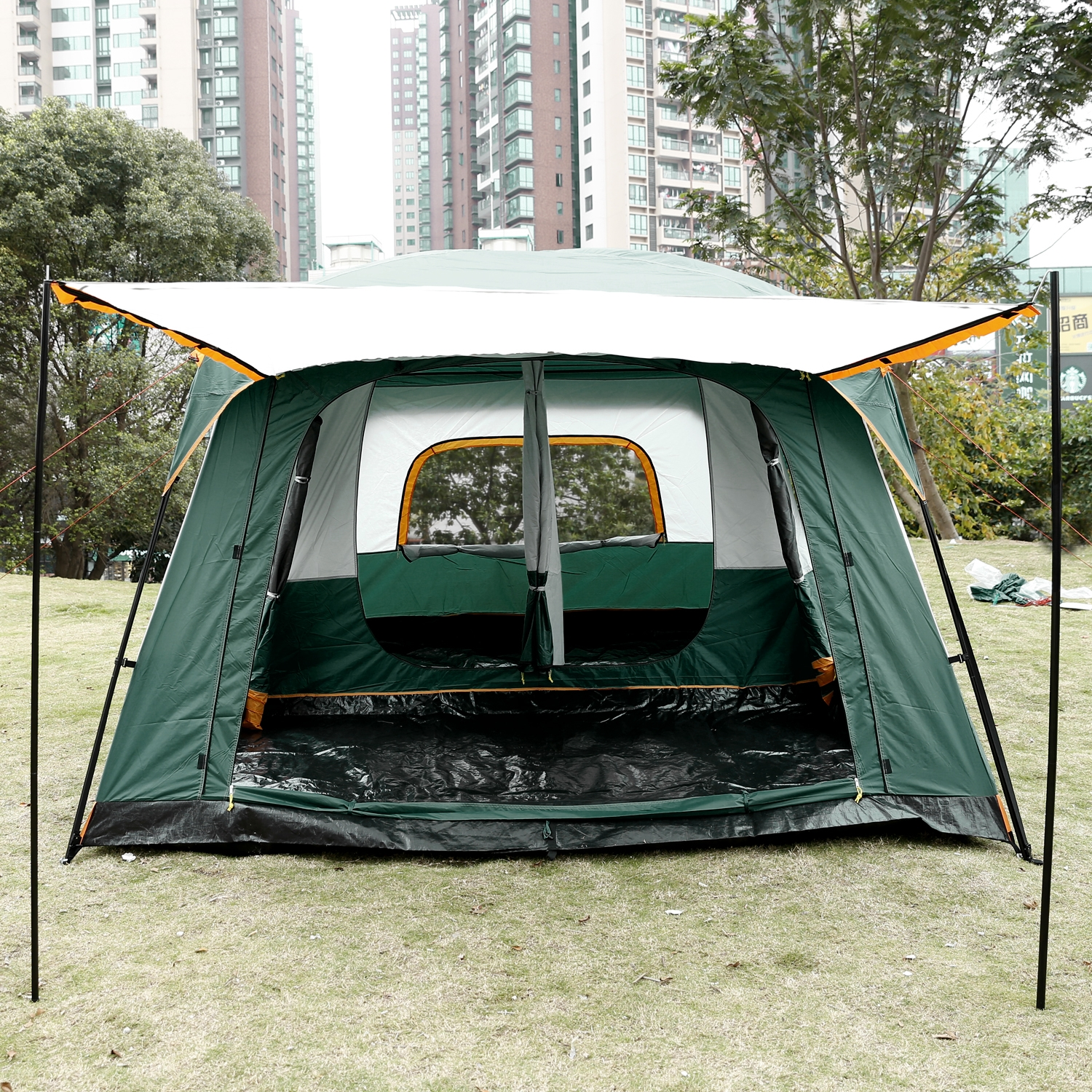 8-Person Family Tent for Outdoor C&ing Hiking 2-Bedroom 1-Living Room & Family Camping Tents