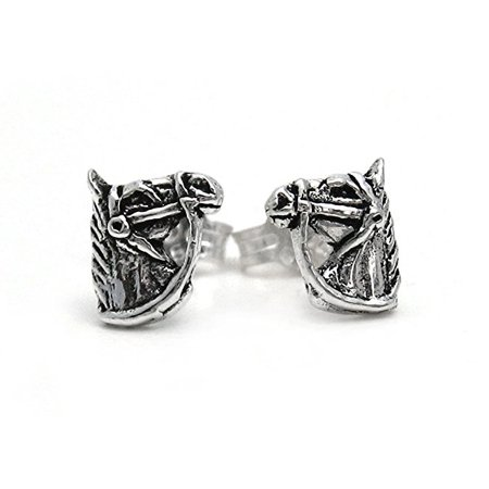 Sterling Silver Bridled Horse Head Stud Post