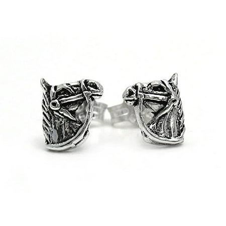 - Sterling Silver Bridled Horse Head Stud Post Earrings