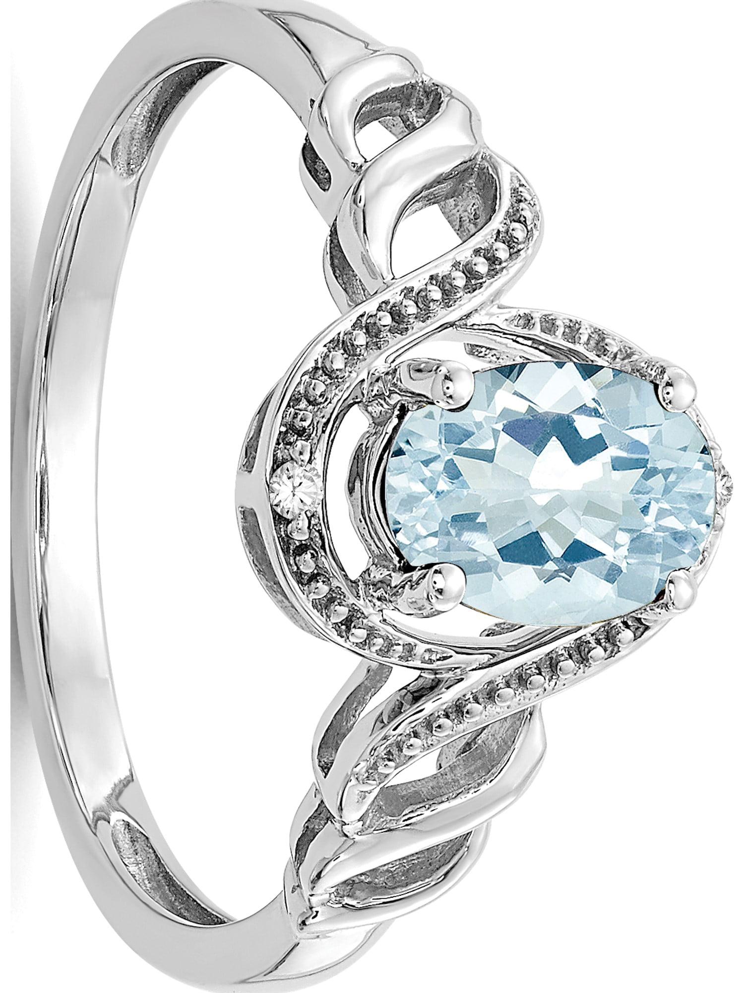 10k White Gold White Aquamarine Diamond Ring by