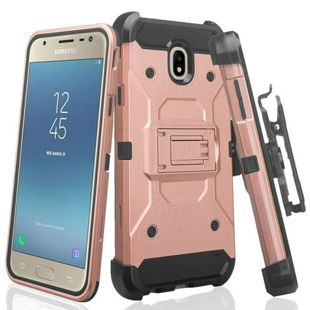 For Tracfone/StraightTalk Samsung Galaxy J3 Orbit (S367VL) Case, Rugged  Heavy Duty Belt Clip Holster with Protective Case, Rose Gold