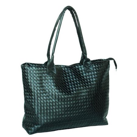 DZ2271-BLACK Silent Love - Stylish Black Double Handle Leatherette Bag Handbag Purse