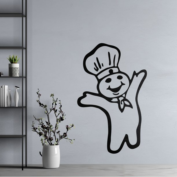 Pillsbury Doughboy Wall Art Decal 20 X 25 Removable Vinyl Adhesive Bake Chef Mascot Home Decor Design Lovers Kitchen Pantry Decoration Sticker Black Walmart Com