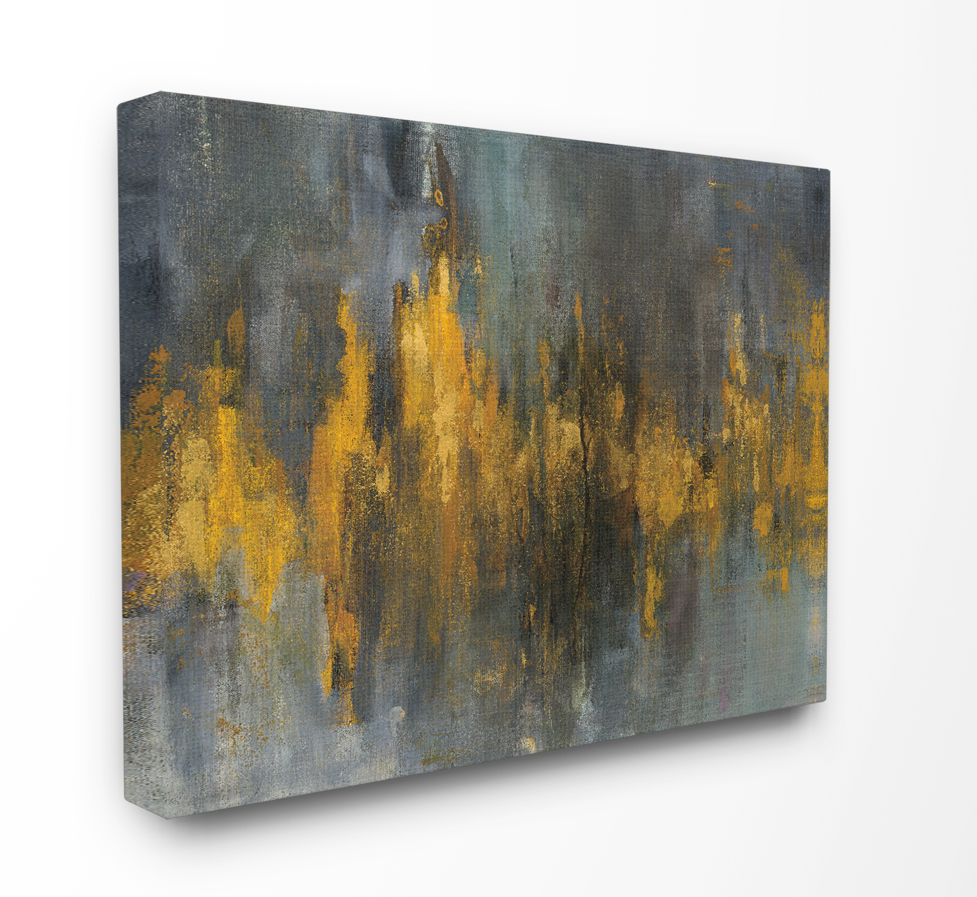 The Stupell Home Decor Collection Black and Gold Abstract Fire Oversized Stretched Canvas Wall Art