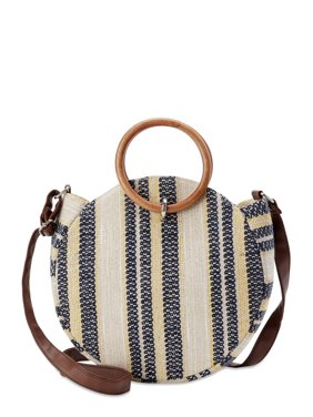 Time and Tru Striped Round Crossbody Bag with Ring Handles