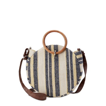 Time and Tru Striped Round Crossbody Bag with Ring Handles Vinyl Purse Handles