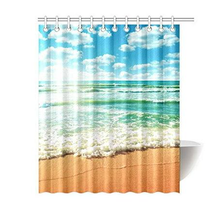 GCKG Coast of Beach Nature Island Ocean Wave Sandy Sun of Beach Shower Curtain 60x72 Inches Polyester Fabric Bathroom Sets Home Decor - image 3 de 3