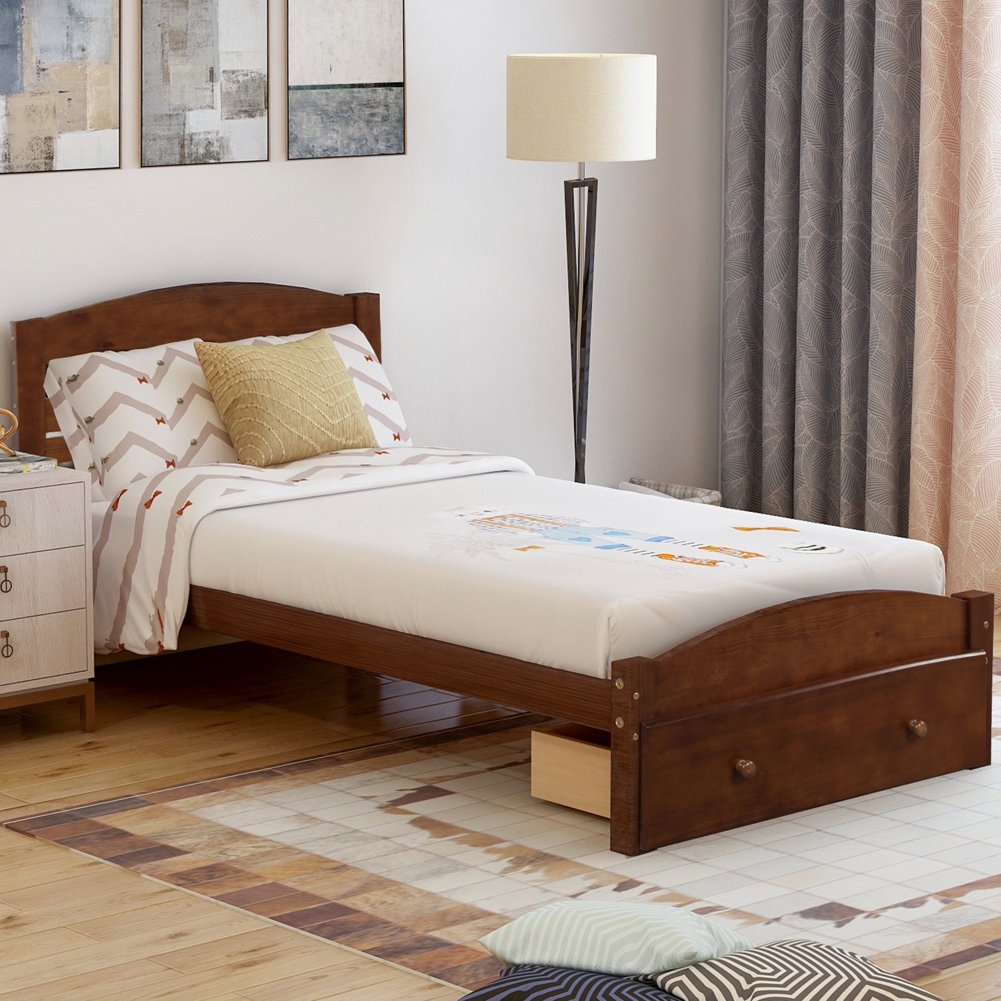 Picture of: Platform Bed Frame With Headboard And Footboard Classic Pine Wood Twin Bed Frame For Kids Modern Twin Size Bed Frame With Wood Slats Support Holds 275 Lb No Box Spring Needed Walnut