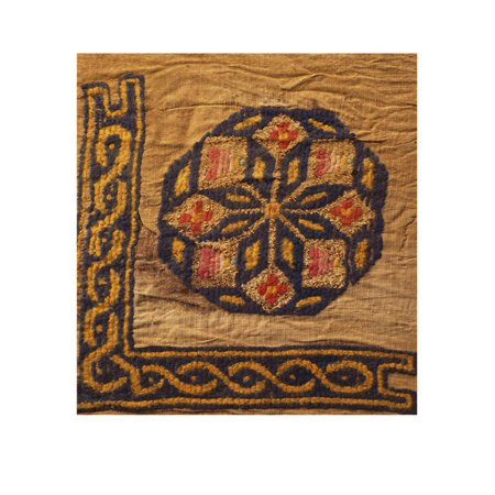 - A Coptic Textile Fragment Containing a Medallion with a Corner Border Print Wall Art