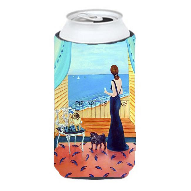 Carolines Treasures 7133TBC Lady With Her Pug Tall Boy bottle sleeve Hugger - 22 To 24 oz. - image 1 de 1
