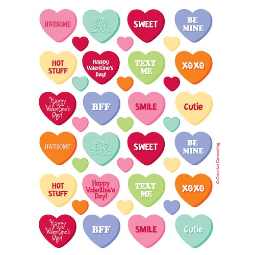 Candy Hearts Stickers, 4pk