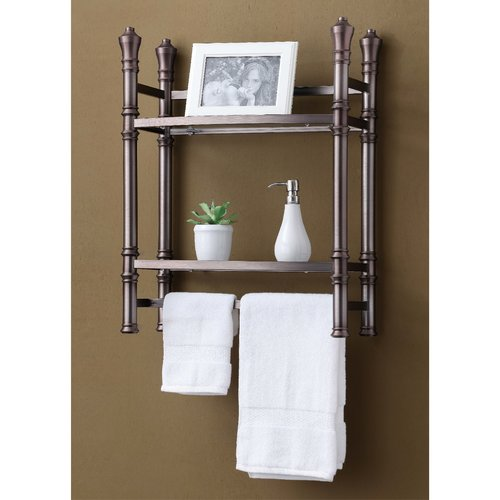 Best Living, Inc. Monaco Small Etagere Wall Mount, Brushed Titanium