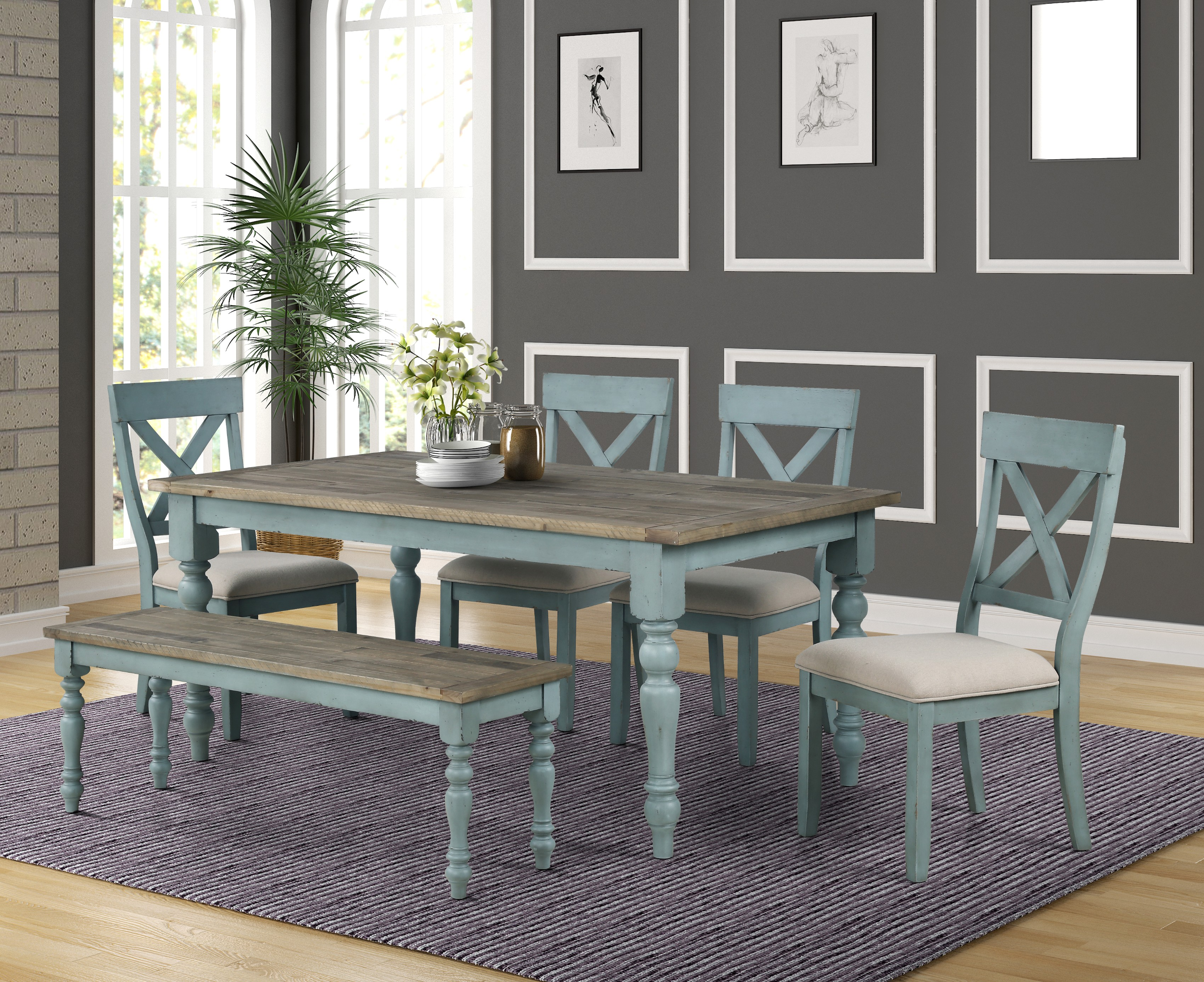 Picture of: Prato 6 Piece Dining Table Set With Cross Back Chairs And Dining Bench Walmart Com Walmart Com