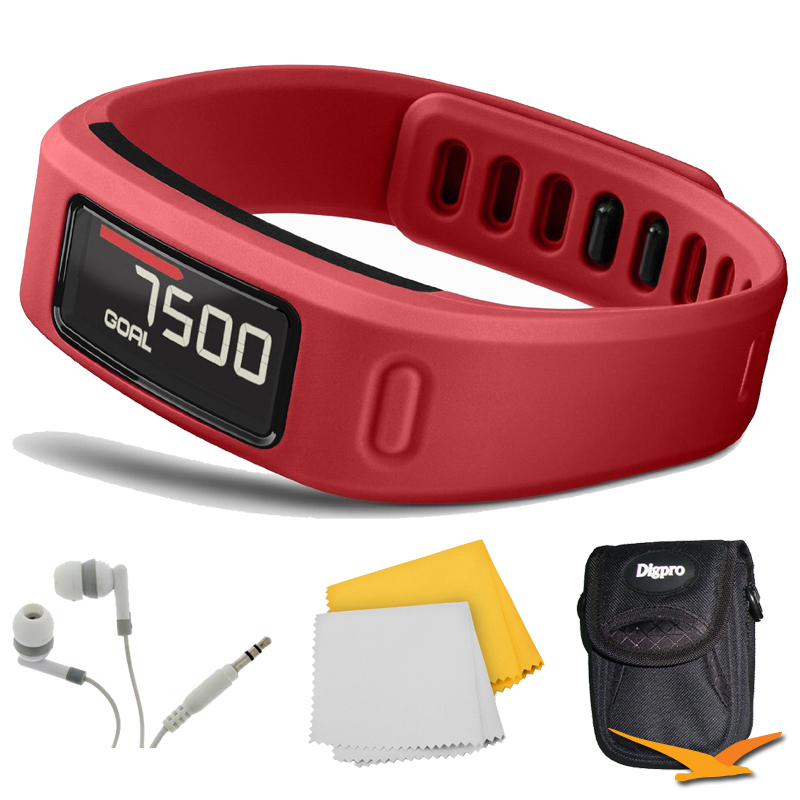 Garmin Vivofit Bluetooth Fitness Band (Red) (010-01225-08) Bundle - Includes Fitness Band, Noise Isolation Headphones, Carrying Case and 1 Piece Micro Fiber Cloth