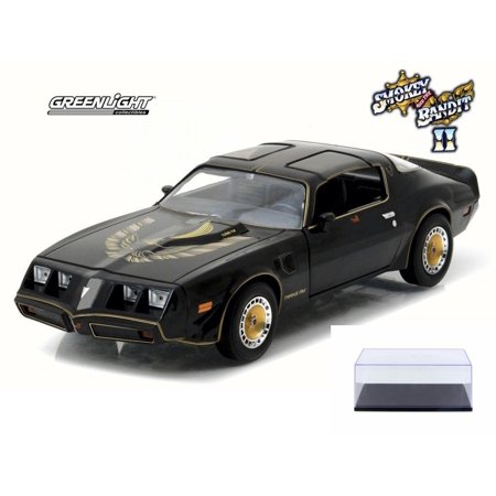 Diecast Car & Display Case Package - Smokey and The Bandit II 1980 Pontiac Firebird T/A Turbo 4.9L T-Top, Black - Greenlight 84031 - 1/24 Scale Diecast Model w/Display Case