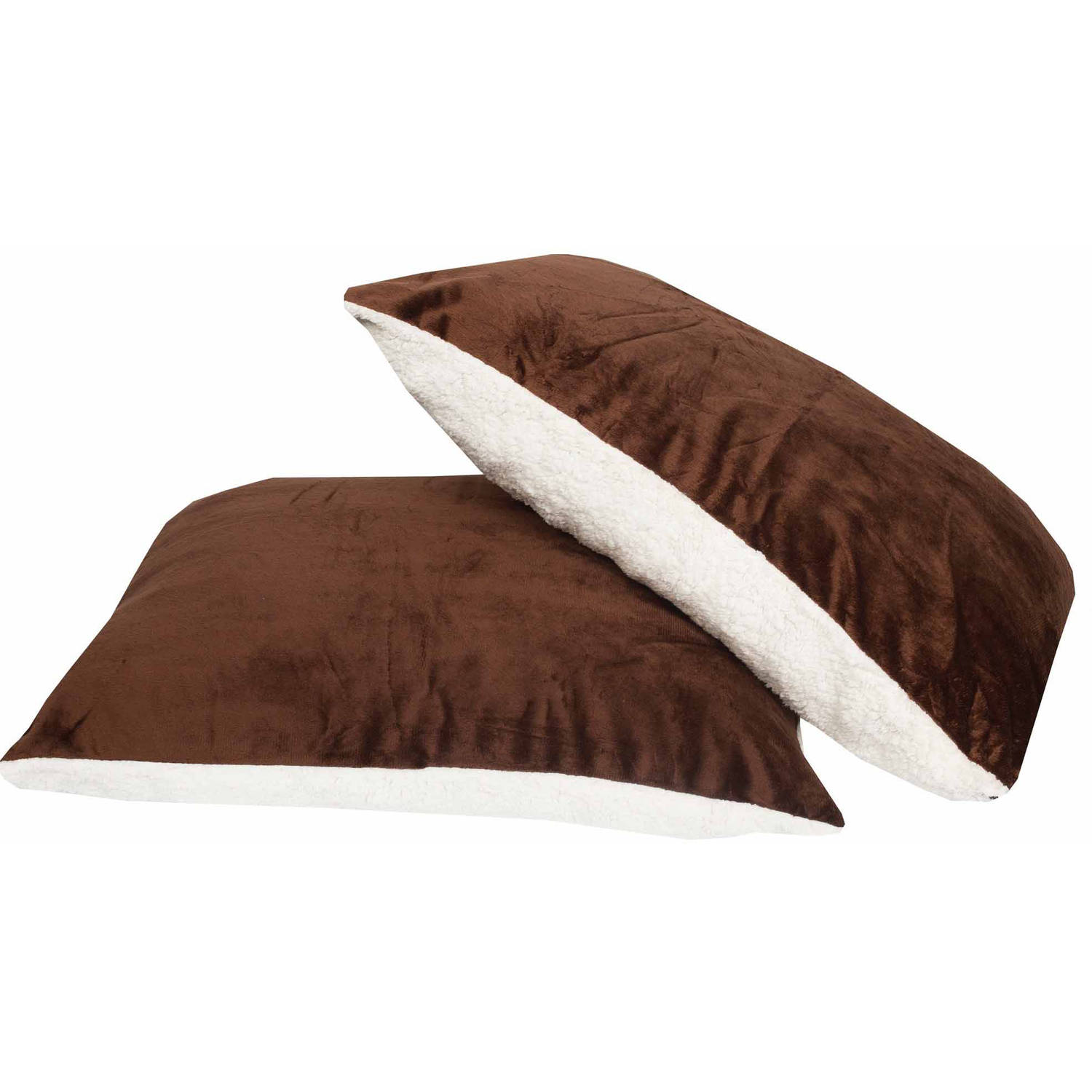 """Ultra Soft Reversible Faux Mink and Sherpa Oversized 19"""" x 28"""" Pillow, 2-Pack"""