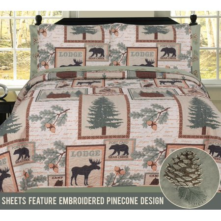 Elk Bear Rustic Mountain Lodge Cabin King Quilt 7 Piece Bedding and Sheet Set ()