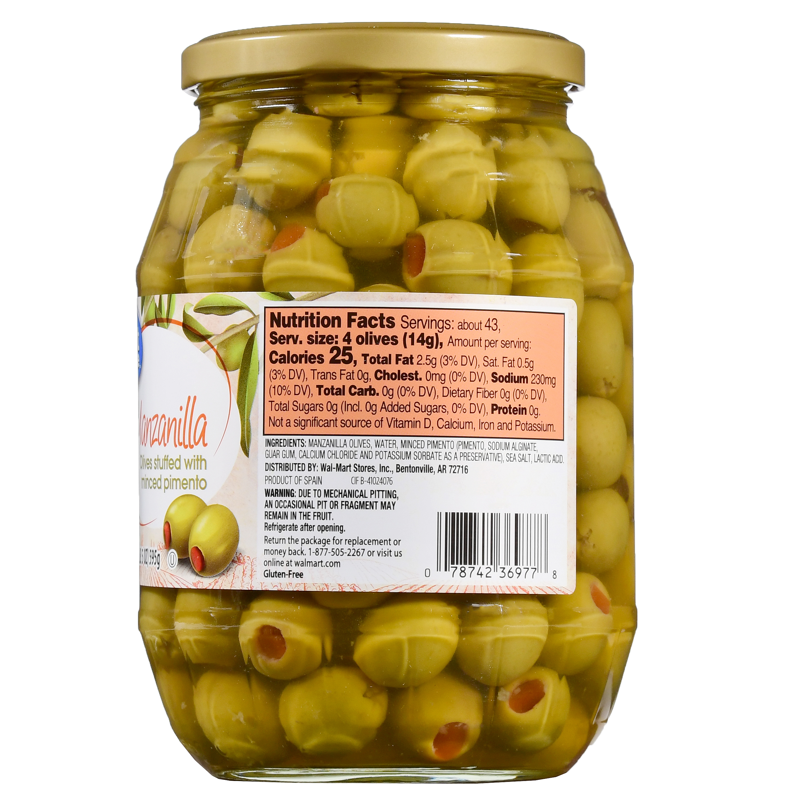 Great Value Manzanilla Olives Stuffed With Minced Pimiento 21 Oz Walmart Com Walmart Com