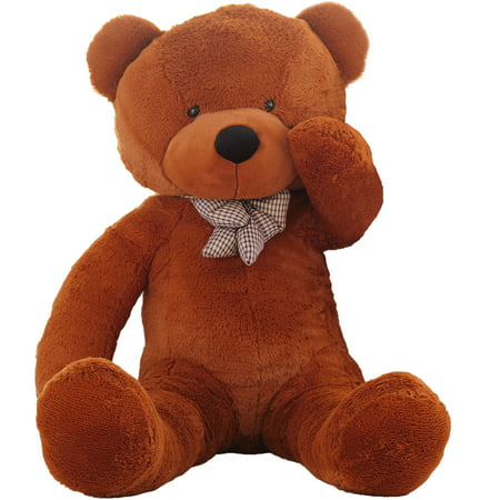 WOWMAX 4.5 Foot Dark Brown Giant Huge Teddy Bear Cuddly Stuffed Plush Animals Teddy Bear Toy Doll - Cool Glow In The Dark Stuff