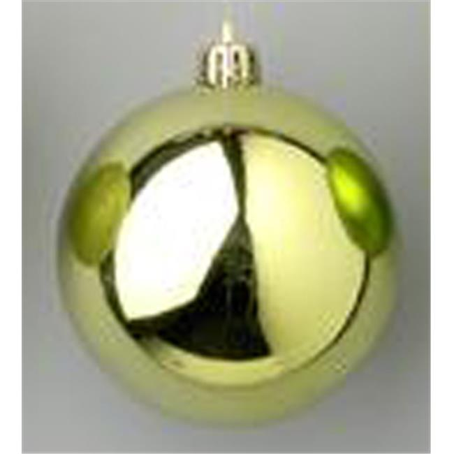 Queens of Christmas WL-ORN-BLKS-80-SG-W 80mm Shiny Sage Green Ball Ornament with Wire - Pack of 12