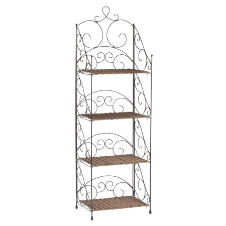 Four Tier Wicker & Metal Shelves by OakRidgeTM -