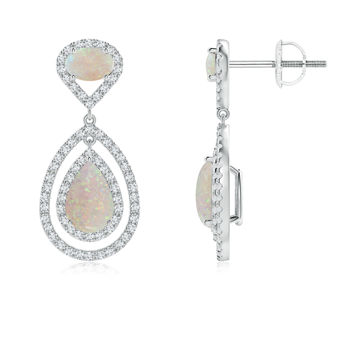 Angara Pear Shaped Opal Earrings - October Birthstone Earrings MnlEuUGg