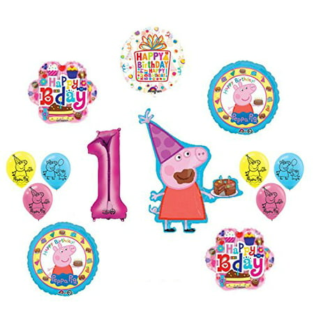 Peppa Pig 1st Birthday Party Balloon supplies and decorations kit - Peppa Pig Birthday Supplies