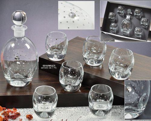 Le Monde, Swarovski Jeweled Crystal Decanter and 6 Vodka ...