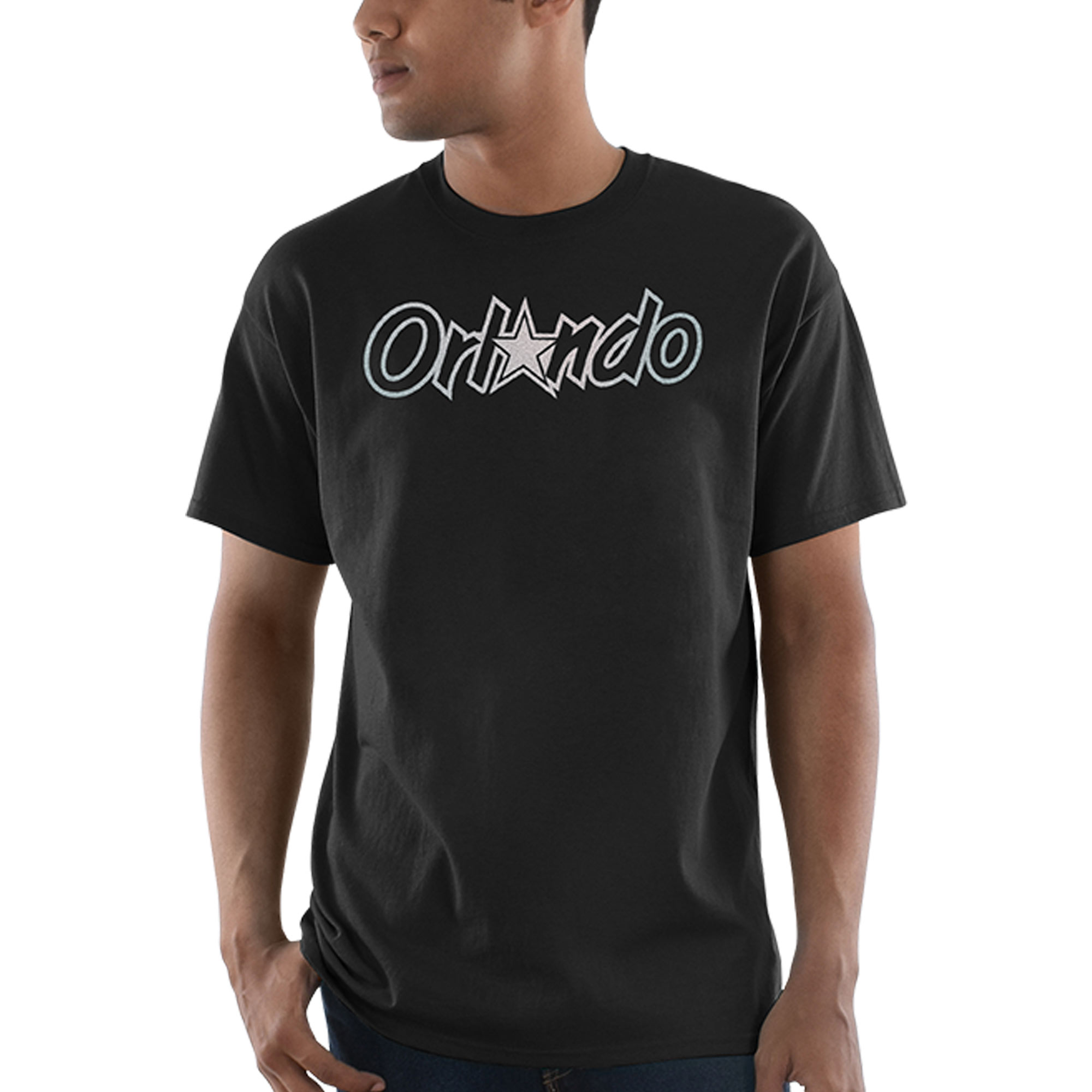 Orlando Magic Majestic Throwback Logo Reflective Tek Patch T-Shirt - Black