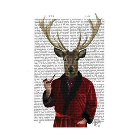 Deer in Smoking Jacket Print Wall Art By Fab Funky (Smoking Jacket For Sale)